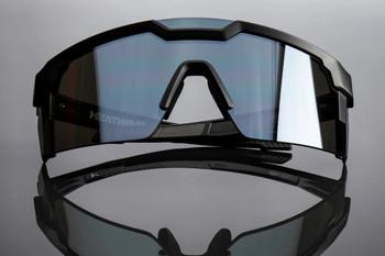 HeatWave Visual - Future Tech Black Frame Silver Lens Sunglasses - ANSI Z87+