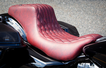Deadbeat Customs Throne Harley Bagger Seat fits '08-'20 Touring Models - Moroccan Red Leather