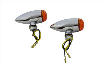 V-Twin Mini LED Speeder Turnsignals - Chrome w/ Amber Lens