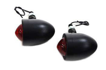 V-Twin Marker Lamp Set with Red Lens Single Stem - Black