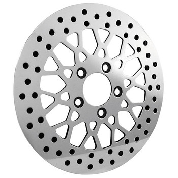 Bikers Choice - Mesh Style Polished Brake Rotor - Front - fits '84-'17 FLH, FLT, FXST, FLST, FXD, XL