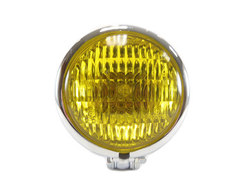 "Motorcycle Supply Co. - Chrome 4.5"" Headlight - Yellow Lens"