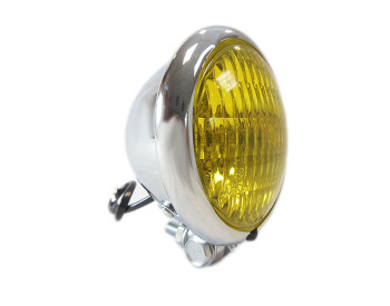 "Chrome 4.5"" Headlight - Yellow Lens"