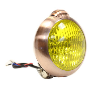 "Unity Style 5"" Copper Headlight - Yellow Lens"