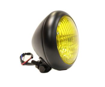 """Bezel 5"""" Black Headlight - Yellow Lens"""