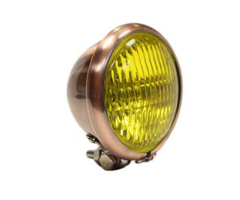 "Motorcycle Supply Co. - Copper 4.5"" Headlight - Yellow Lens"