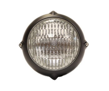 """Motorcycle Supply Co. - Finned 4"""" Black Headlight - Clear Lens"""