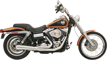 Bassani - Road Rage 2-into-1 Exhaust Systems Chrome, Short, Upswept - Fits '06-'16 FXD/FXDWG With Forward or Mid Controls