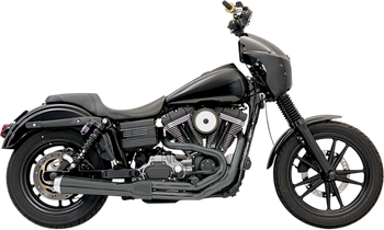 Bassani - Road Rage 2-into-1 Exhaust Systems Black, Short, Upswept - Fits  '06-'16 FXD/FXDWG With Forward or Mid Controls