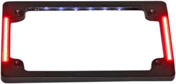Custom Dynamics - Tri-Horizontal Motorcycle Plate Frame W/ Flushmount LEDs and LED Plate Illumination