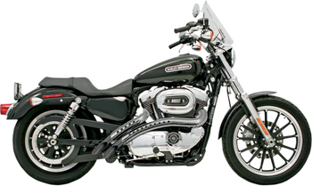 Bassani - Radial Sweeper Exhausts - Black w/ Chrome Heat Shield w/ Holes fits '04-'13 XL