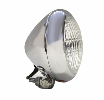 "Motorcycle Supply Co. - Bezel 5"" Chrome Headlight - Clear Lens"