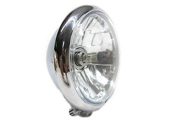 """V-Twin Bates Style Headlight 5.75"""" Faceted - Chrome w/ Clear Lens"""