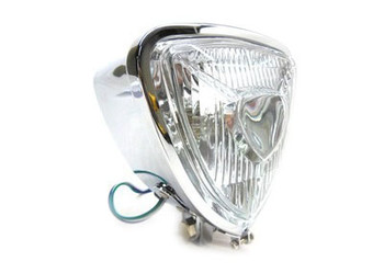 "V-Twin Triangle Headlight 5-1/4"" - Chrome w/ Clear Lens"