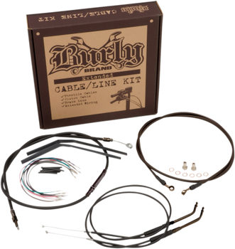 "Burly Brand - 14"" Handlebar Cable/ Brake Line Extension Kit - fits '12-'17 FXD Single Disc w/ ABS"