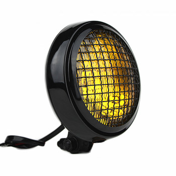 "Motorcycle Supply Co. - Slim Caged 5"" Black Headlight - Amber Lens"
