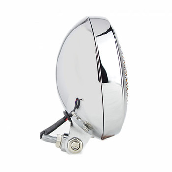 """Motorcycle Supply Co. - Slim Caged 5"""" Chrome Headlight - Amber Lens"""