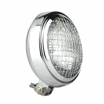 """Slim Caged 5"""" Chrome Headlight - Clear Lens"""