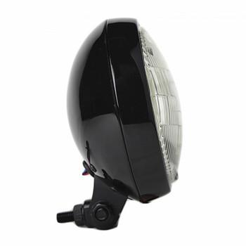 "Motorcycle Supply Co. - Slim 5"" Black Headlight - Clear Lens"