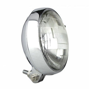 "Motorcycle Supply Co. - Slim 5"" Chrome Headlight - Clear Lens"