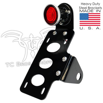 TC Bros Choppers - Two Inch Round Bobber Tail Light License Plate Bracket