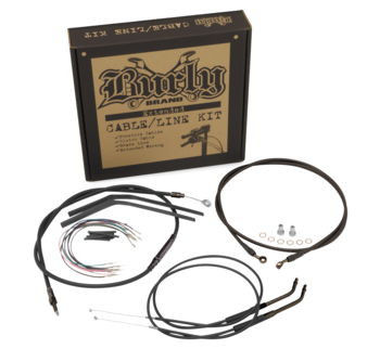 "Burly Brand - 12"" T-Bar Cable/ Brake Line Extension Kit - Fits Single Disc '12-'15 FXD Models"