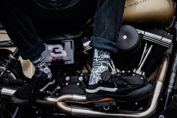 Deadbeat Customs - Ride Fast Socks - Black/White