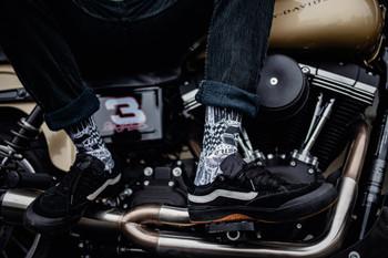 Deadbeat Customs - Ride Fast Socks - Black/White