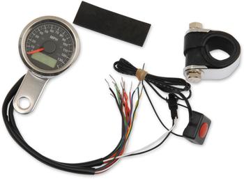 "Drag Specialties - 1-7/8"" Mini Electronic Speedometer w/ Indicator Lights - Polished"