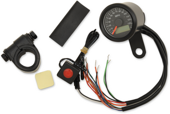 "Drag Specialties - 1-7/8"" Mini Electronic Speedometer w/ Indicator Lights - Gloss Black"