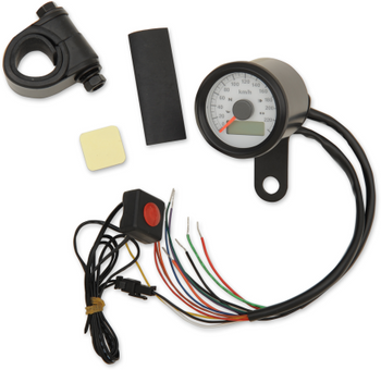 "Drag Specialties - 1-7/8"" Mini Programmable Electronic Speedometer With Indicator Lights - Gloss Black"