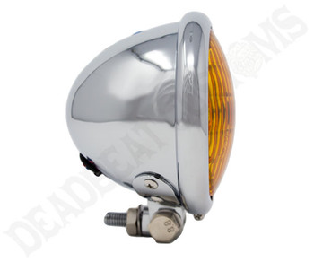 "Motorcycle Supply Co. - Chrome 4.5"" Headlight - Amber Lens"