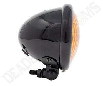 "Motorcycle Supply Co. - Black 4.5"" Headlight - Amber Lens"