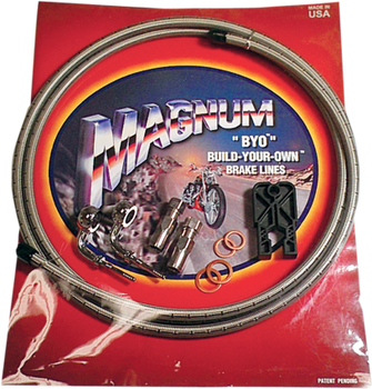 Magnum - Braided Black Stainless Steel Single Disc Brake Line Kits - Fits Harley Models