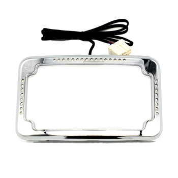 Cycle Visions - Curved Slick Signals License Plate Frame - Black or Chrome
