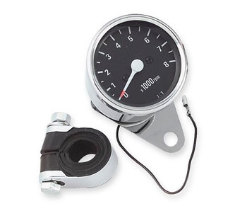 "Biker's Choice - Mechanical 2.5"" Black Face 2:1 Drive Ratio Tachometer - Chrome"