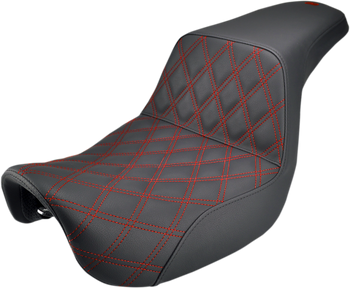 Saddlemen - Step Up Diamond Red Stitch Seat - fits '06-'17 Dynas (see desc.)