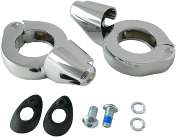 Drag Specialties - Turn Signal Fork Clamps w/ Mounting Hardware