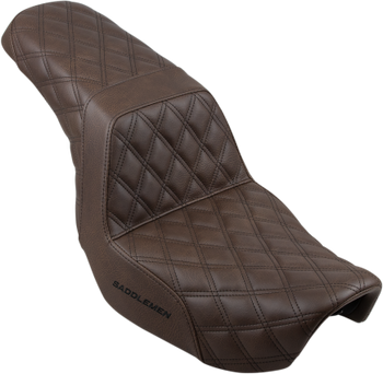 Saddlemen - Step Up Full Diamond Stitched Seat - fits '06-'17 FLD/FXD/FXDWG - Brown