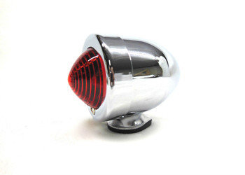 V-Twin Bullet Tail Light Marker Light - Chrome with Red Lens