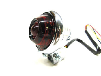 Round LED Chrome Bump Taillight with Red Lens