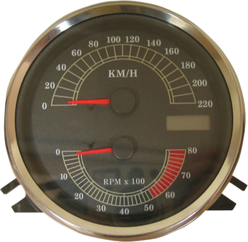 Drag Specialties Electronic Speedometer/Tachometer Fits Touring, Softail, and Dyna Wide Glide Models 220 KM/H