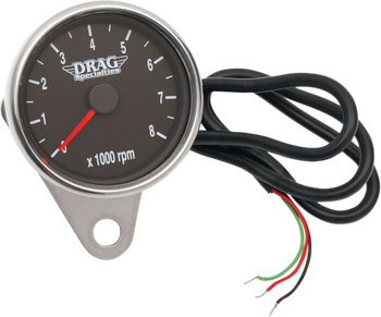 "Drag Specialties - 2.4"" Mini Electronic 8000 RPM Tachometer with Orange Needle - Fits 99-03 Twin Cam, 86-03 XL Models"