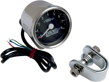 "Drag Specialties - 2.4"" Mini Electronic Tach Black/White - Fits 99-03 Twin Cam, 86-03 XL Models"