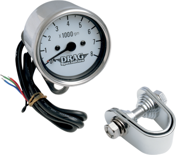 """Drag Specialties 2.4"""" Mini Electronic Tach Black/White Fits 99-03 Twin Cam 86-03 XL"""