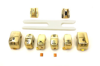 V-Twin Gold Switch Cover Kit Fits Harley-Davidson '02-'13 FLHRCI Models w/ Cruise Control