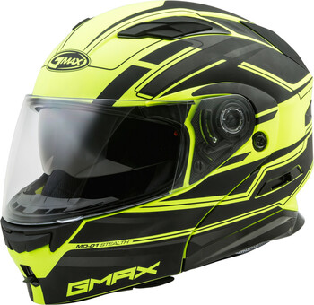 GMAX MD01 Stealth Helmet Matte Black / Hi-Vis Yellow