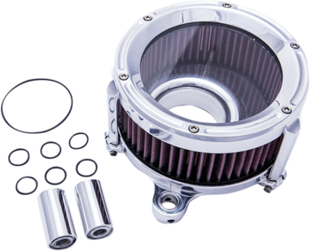 Trask Assault Air Cleaner for Touring, Dyna, and Softail Models Chrome