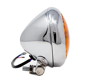 "Motorcycle Supply Co. - Bezel 5"" Chrome Headlight - Amber Lens"