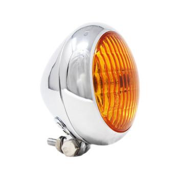 "Motorcycle Supply Co. - Bezel 5.75"" Chrome Headlight - Amber Lens"